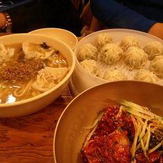 Myeongdong Kyoja, Seoul, Korea. Spicy noodles, noodle soup, mandu