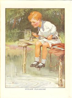 Vintage 1926 Children's Print By Harry Woolley  Young Boy Fishing Wooden Dock Pond Satchel School  Bag Jam Jar Preserve Jar Book Plate