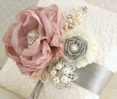 Ring Bearer Pillow Bridal Pillow Wedding Pillow in Ivory, Champagne, Grey/Silver and Dusty Rose with Lace and Pearls