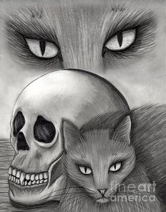 Witch's Cat Eyes  - Fine Art America Pixels, Carrie-Hawks.Pixels.com Copyright - Carrie Hawks, Tigerpixie Fantasy Cat Art. More Prints, Jewelry & Gift Items featuring this image are available on my website - Tigerpixie.com