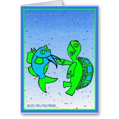 Dancing Fish and Turtle Card