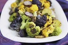 Roasted Rainbow Cauliflower Potatoes and Garlic Cauliflower Potatoes, Roasted Garlic Cauliflower, Purple Cauliflower, Healthy Potatoes, Roasted Potatoes, Whole Food Recipes, Cooking Recipes, Healthy Recipes, Keto Recipes