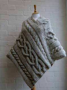 Chunky knit Merino wool Poncho in Oatmeal/ Women by StripesnCables, £120.00