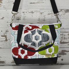 Petite Camera bag Red, blue and green in cotton canvas with water reistant outdoor canvas base in Black by Darby Mack Made in the USA