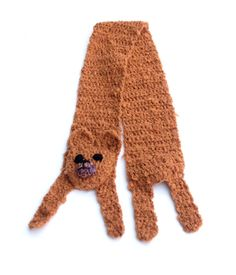 "Brown bear Baby bear Handmade soft Crochet scarf Animal scarf Brown yarn Children scarf For kids For baby For animal lovers Winter gift  Very soft, nice and friendly brown bear — made by me for tiny tots. It is made of brown yarn, without any plastic or glass details - you dont need to bother about your child safety. Length with legs: 49 (124 cm), without legs (only ""body""): 40 (100 cm) Width: 4 (10.5 cm)   Handmade with love in a smoke-free house.  Ready to ship.   Please check dimensions…"