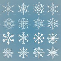 Vector snowflakes set by piter.goskov on Creative Market - Vector snowflakes set by piter.goskov on Creative Market - Christmas Doodles, Christmas Drawing, Christmas Art, Christmas Decorations, Christmas Ornaments, Xmas, Snowflake Drawing Easy, Simple Snowflake, Drawing Snowflakes
