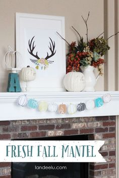 Fresh Fall Mantel Decor | a fresh & fun fall mantel with a slightly less traditional but still fall-ish color scheme. I love it! I'm excited to enjoy it through Thanksgiving! landeelu.com