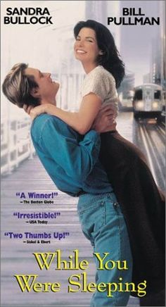 """While You Were Sleeping"" Ticket collecting romantic pretends to be engaged to an unconscious man but can't fool his brotherl. This is a really fun romantic comedy, with Sandra Bullock and Bill Pullman. See Movie, Movie List, Movie Tv, Sandra Bullock, Old Movies, Great Movies, 1995 Movies, Thriller, Unexpected Love"
