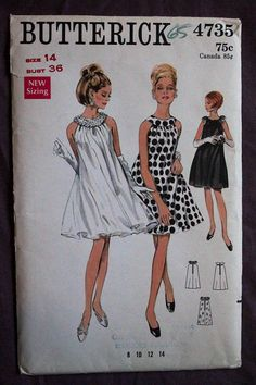 Misses 60s Evening Dress Tent Style Sheer Overlay Sequin Feather Trim Vintage 1960s Butterick 4735 Sewing Pattern size 14 Bust 36 Uncut & FF