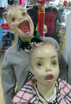 very creepy kid store mannequins