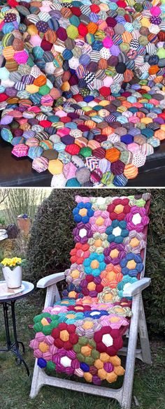 Knitting Pattern for The Beekeeper's Quilt - Afghan made of little stuffed honeycomb shaped puffy pockets called hexipuffs. Great for scrap yarn and easy to join. Designed by tiny owl knits. Pictured projects by PorcupineSnuggles