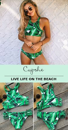 Hear that you want a tropical beach travel, Girls~ You can have a perfect beginning from this pretty style-match bikini. Cute tropical leave print & chic tank top design will highlight your beautiful figure. Free shipping! Shop Now.