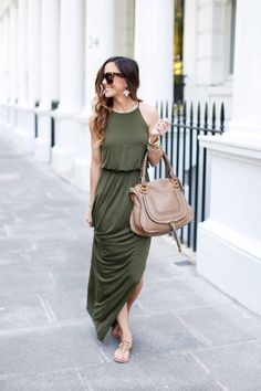 Olive green high neck maxi dress + leather satchel + slip-on sandals