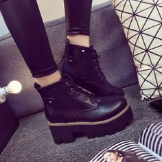 Lace-Up Platform Short Boots