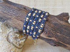 Leather Wrap Bracelet: Navy & Gold/Beaded Leather Wrap/5 Wrap