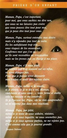 Citation prière de l'enfant à ses parents