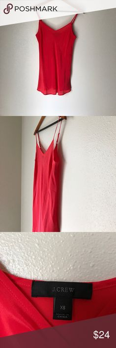 J.Crew Red Orange Silk Cami Tank Size XS 100% Silk Excellent Used Condition  No Rips No Stains J. Crew Tops Tank Tops