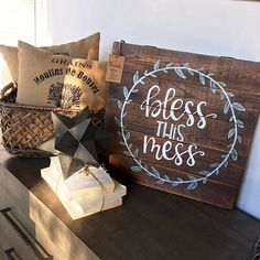 18 x 18 Bless this Mess Wood Sign by BirchMarieDesignwrks on Etsy