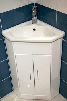 White Compact Corner Vanity Unit Bathroom Furniture Sink Cabinet Basin Tap Ebay