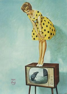 vintage ads Philips TV ad from 1961 Pin Up Vintage, Pin Up Retro, Pub Vintage, Images Vintage, Vintage Tv Ads, Gravure Illustration, Illustration Photo, Illustrations, Retro Advertising