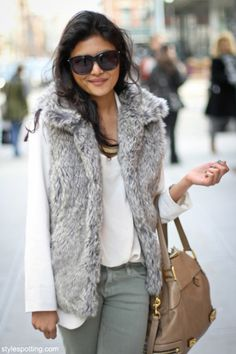 Grey fur vest perfect for fall look
