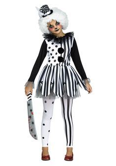 Let your child scare all of her friends in this Killer Clown Girls Costume. This costume features a clown themed black and white polka dot and striped dress.
