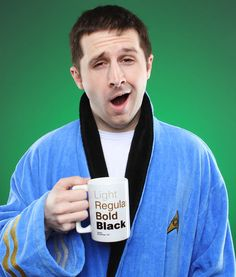 Star Trek robes at ThinkGeek.  Want blue ones (Science officer) for Mike and me.