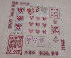 Hearts cross stitch sampler