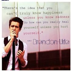 at The Disco// brendon urie //quotes from celebritiesTap the link now to visit the one stop shop for Rock Band and Gothic Merchandise! Band Quotes, Lyric Quotes, Lyrics, Qoutes, I Love Music, Music Is Life, Emo Bands, Music Bands, Brendon Urie Quotes