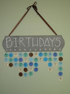Perpetual family birthday calendar- or class birthdays. possible teacher gift? Family Birthday Calendar, Perpetual Birthday Calendar, Birthday Board, Diy Birthday, Birthday Month, Birthday Display, Birthday Wall, Cute Crafts, Diy And Crafts