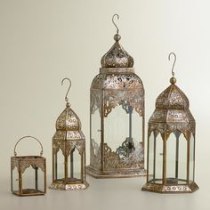 Lucia Silver-Leaf Lanterns - mediterranean - candles and candle holders - World Market