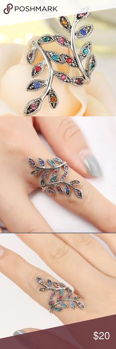 Leaf Shape Ring Size 6 Leaf shaped ring size 6. Brand new. Multicolor jewels. 3.5 cm in length. Very light weight. Made in China. Goes for sale at end of July! Metals Type : Alloy,Rhinestone ,Silver Plated Jewelry Rings
