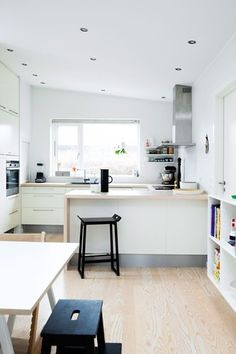 A worn 1960's kitchen was renovated using IKEA cabinets in Denmark #kitchen