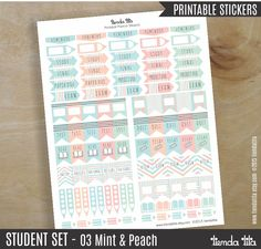 STUDENT Planner STICKERS Printable   03 Mint and Peach   study, exam, homework…