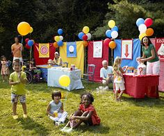 booth sections - Carnival Party! Host a Backyard Carnival Bash: Carnival Games Circus Carnival Party, Kids Carnival, Carnival Birthday Parties, Circus Birthday, Carnival Games, Birthday Party Themes, Birthday Bash, Carnival Decorations, Carnival Ideas