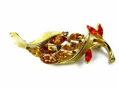 Rhinestone Brooch Orange Citrine Brown Topaz by EclecticVintager