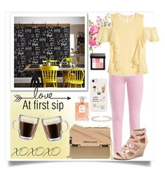 """""""Love at First Sip"""" by skyhigh-syrenlly ❤ liked on Polyvore featuring Acne Studios, H&M, Graham & Brown, Frontgate, Versace, Casetify, Bobbi Brown Cosmetics and Allurez"""