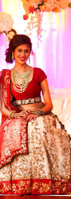 Shyamal & Bhumika Red and gold bridal lehenga Indian Bridal Lehenga, Indian Bridal Fashion, Indian Bridal Wear, Asian Bridal, Pakistani Wedding Dresses, Indian Wedding Outfits, Pakistani Bridal, Indian Dresses, Indian Wear