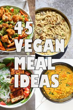 45 Healthy Vegan Meals for Veganuary or any time of the Year. Easy Vegan Meal Ideas. Weeknight Dinners. Many are 1 Pot. Gluten-free and Soy-free Options. #veganricha | VeganRicha.com