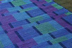 Handwoven blue purple and green cotton rug by TwoCedarsWeaving, on Etsy