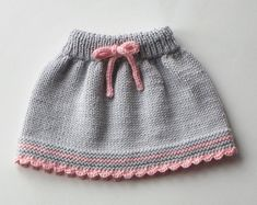 Baby skirt knitted baby skirt merino wool skirt grey and pink skirt MADE TO ORDER Knitting For Kids, Baby Knitting Patterns, Hand Knitting, Toddler Skirt, Baby Skirt, New Baby Dress, Dress Girl, Mode Crochet, Summer Dress