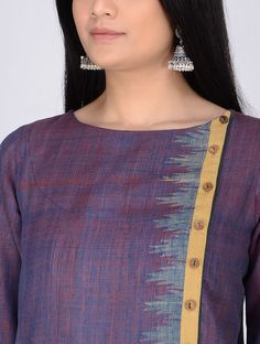 Best 12 Purple Handloom Cotton Kurta with Woven Border by Jaypore Neck Designs For Suits, Neckline Designs, Designs For Dresses, Dress Neck Designs, Blouse Designs, Silk Kurti Designs, Churidar Neck Designs, Kurta Designs Women, Salwar Designs