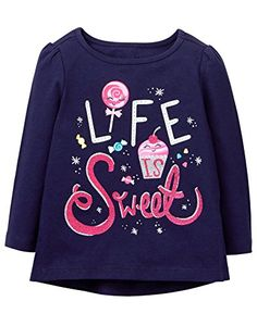 Toddler Girl Night Navy Sweet Life Tee by Gymboree. Imported and Collection Name: Everyday Playwear Kids Girls Tops, Girls Tees, Shirts For Girls, Kids Shirts, Toddler Girl Outfits, Kids Outfits, Reborn Toddler Girl, Toddler Girls, Girls Sleepwear