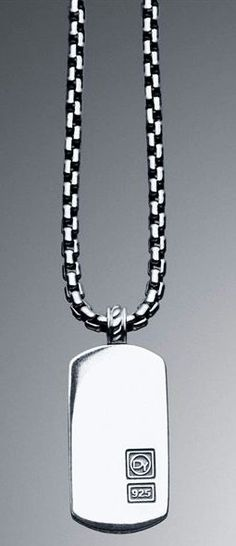 "David Yurman Sterling Silver .925 Signature (26 X 16MM)  DY Logo Tag Necklace, 20"" Retails at $450.00"