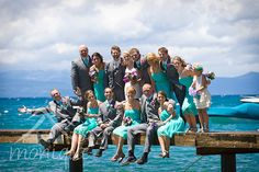 bridal party on pier  #laketahoewedding  © www.tahoeweddingphotojournalism.com