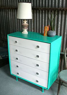 Turquoise Green/White Vintage Upcycled Mid Century Danish Alrob Chest of Drawers