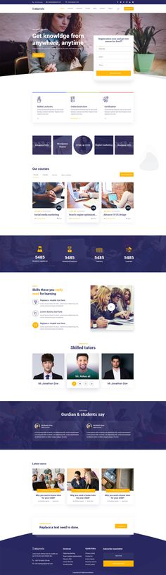 Educational PSD Website Template - 7 PSD Files Web Layout, Layout Design, Design Room, Design Your Own Website, Website Designs, Web Design Inspiration, Design Ideas, Ui Web, Landing Page Design