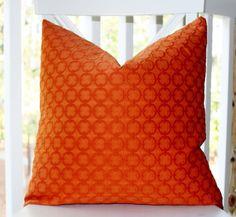 Hermés  - Orange Geometric Circle Embroidered Pillow Cover modern pillows
