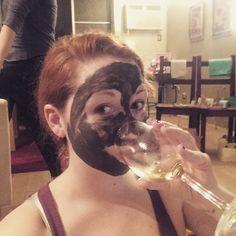 """Just drinking wine and doing a mud mask... Just everyday stuff... #lol #selfie #wine #mask #girlsnight #spa #redhead #relax #chill #fun #justforfun…"""