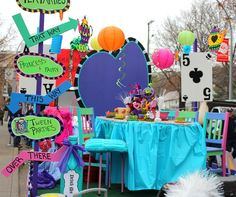 This years Santa parade float decor might inspire your next Mad Hatter pary! -Enchanted Teacup